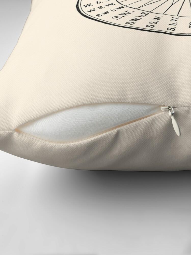 Alternate view of Vintage Nautical Navigation Dial, Black on Almond Cream Throw Pillow