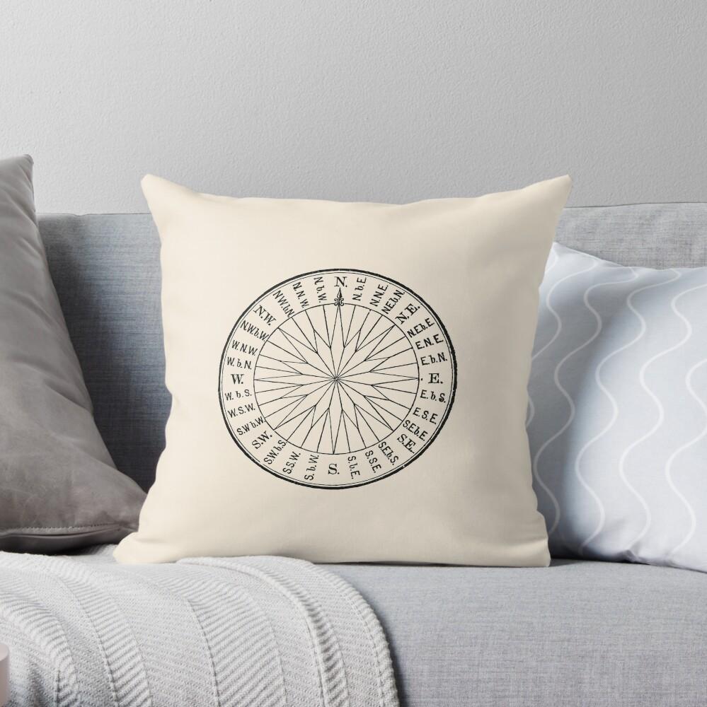 Vintage Nautical Navigation Dial, Black on Almond Cream Throw Pillow
