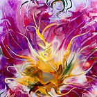 yellow fluid abstract flower by BBS ART