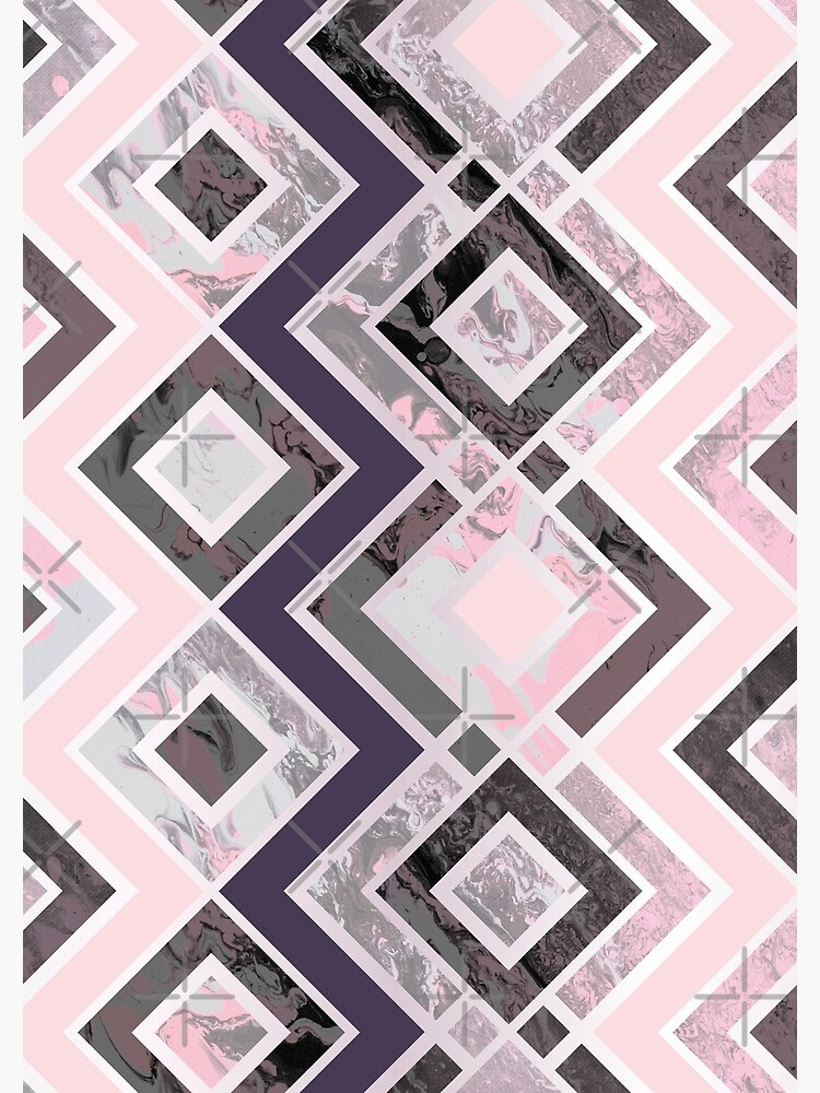 Zigzag pattern of a fluid painting in neon pink and gray by nobelbunt
