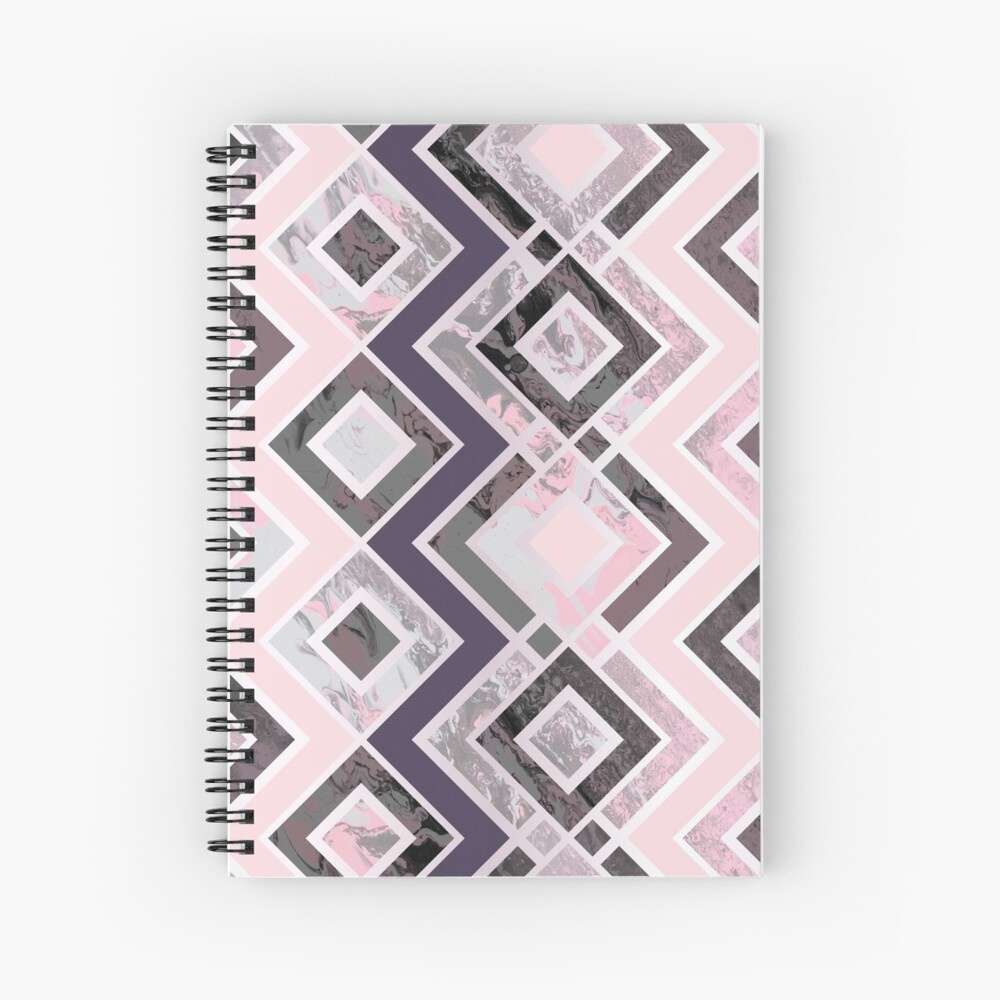 Zigzag pattern of a fluid painting in neon pink and gray Spiral Notebook
