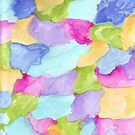 Green Pink Purple Blue Turquoise Yellow Abstract Watercolor Pattern by ValeriesGallery
