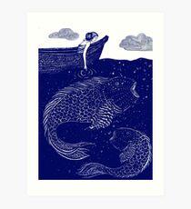 Die blau schimmernden Seelichter Kunstdruck