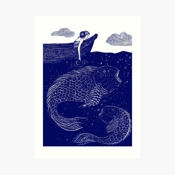 The Blue Shimmering Sea Lights Art Print