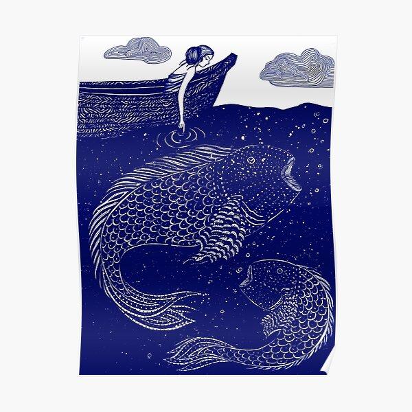 The Blue Shimmering Sea Lights Poster