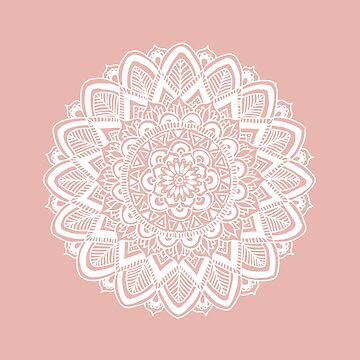 Boho White Mandala on Rose Gold by julieerindesign
