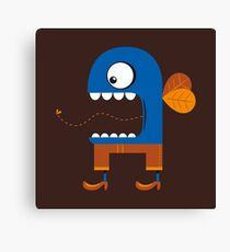 Blue Fly Snack Canvas Print