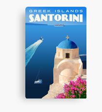 Vintage Santorini Travel Poster Canvas Print