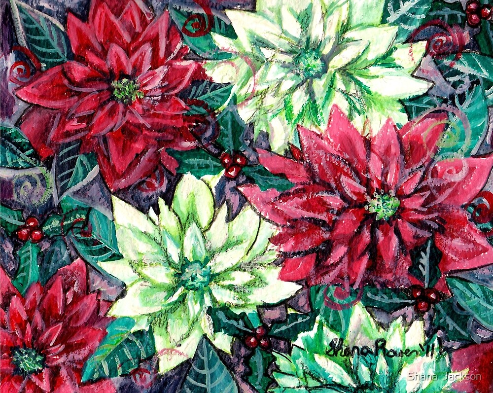 Christmas Flower Poinsettia Splendor by Shana Rowe Jackson