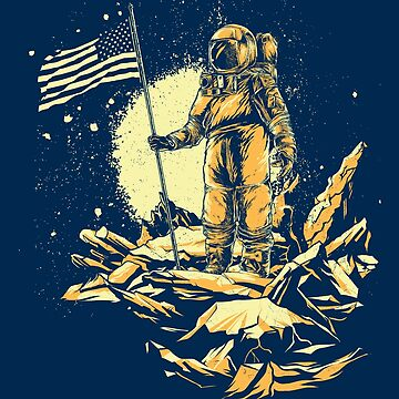 American NASA Astronaut on the Moon with USA Flag by manbird