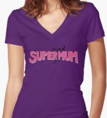 Super(tired)Mum in Pink and White Women's Fitted V-Neck T-Shirt