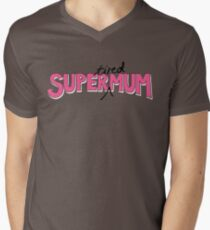 Super(tired)Mum in Pink and White Men's V-Neck T-Shirt