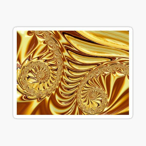 Molten Liquid Gold Fractal Abstract Sticker