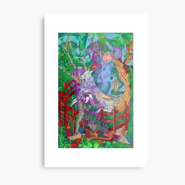 Archealogy of the Unicorn giclee with borders Metal Print