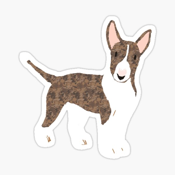 English Bull Terrier Brindle - Watercolor Style English Bull Terrier Sticker