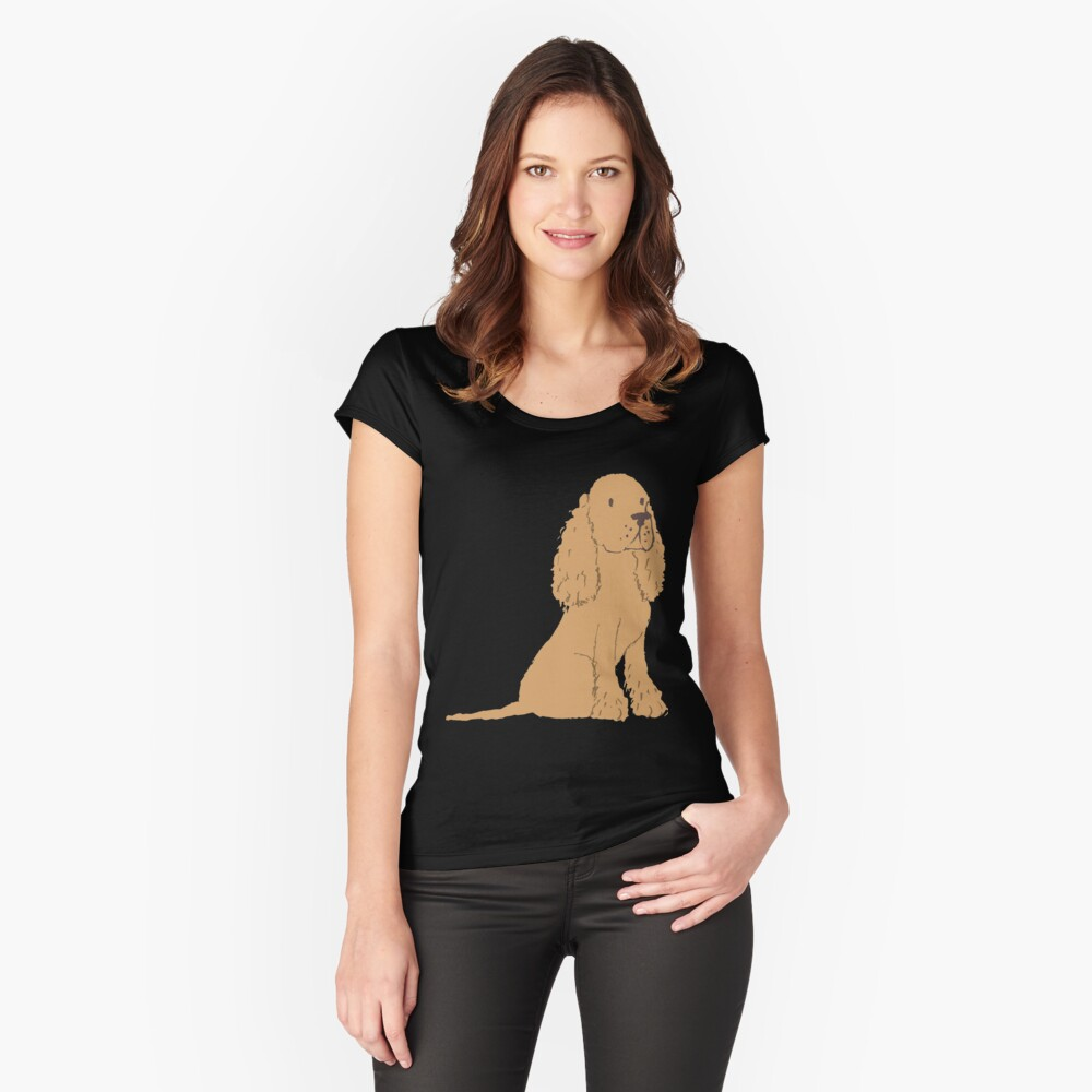 Golden Spaniel - Watercolor Style Spaniel Fitted Scoop T-Shirt