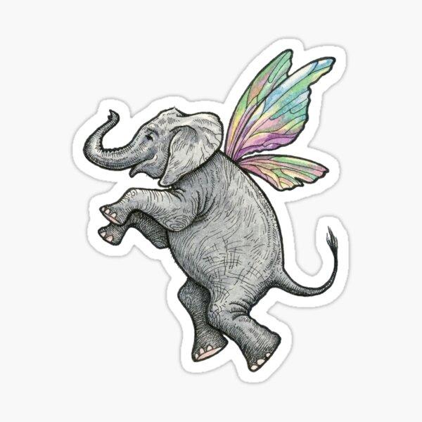 Happy Fairy Elephant in Flight Sticker