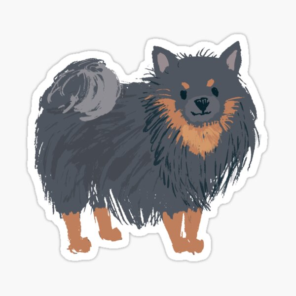 Pomeranian Black And Tan - Watercolor Style Pomeranian Sticker