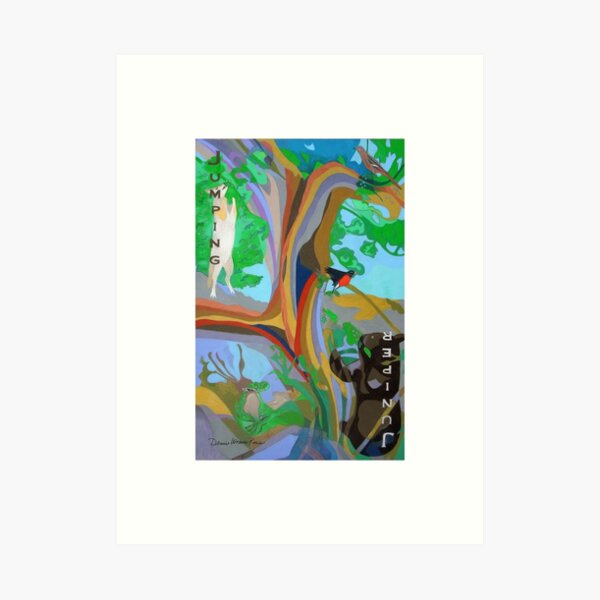 Jumping Juniper giclee with borders Art Print