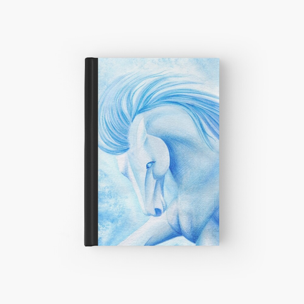 March Aquamarine Horse Watercolor Painting Hardcover Journal