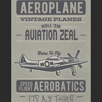 Vintage Aviation Airplane by joyfuldesigns55