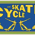 Cycle and Skate Blue and Gold Rectangle Design – Bikes and Skaters by strayfoto