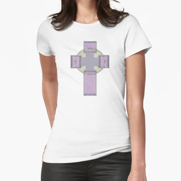 Celtic Cross--Lavender Pastel Tones Fitted T-Shirt