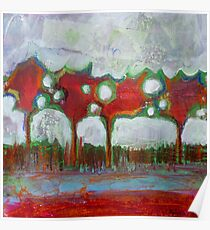 Winter Day Walk, mixed media on canvas Poster