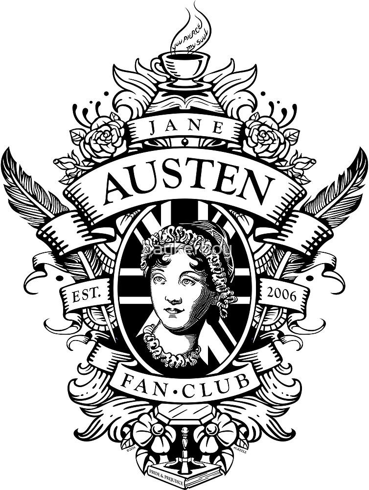 Jane Austen Fan Club Commemorative Crest BlackWhite by baykerboy