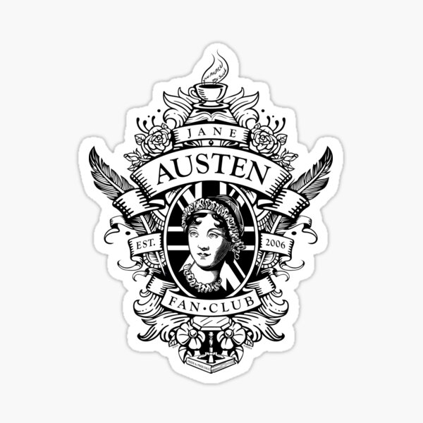 Jane Austen Fan Club Commemorative Crest BlackWhite Sticker