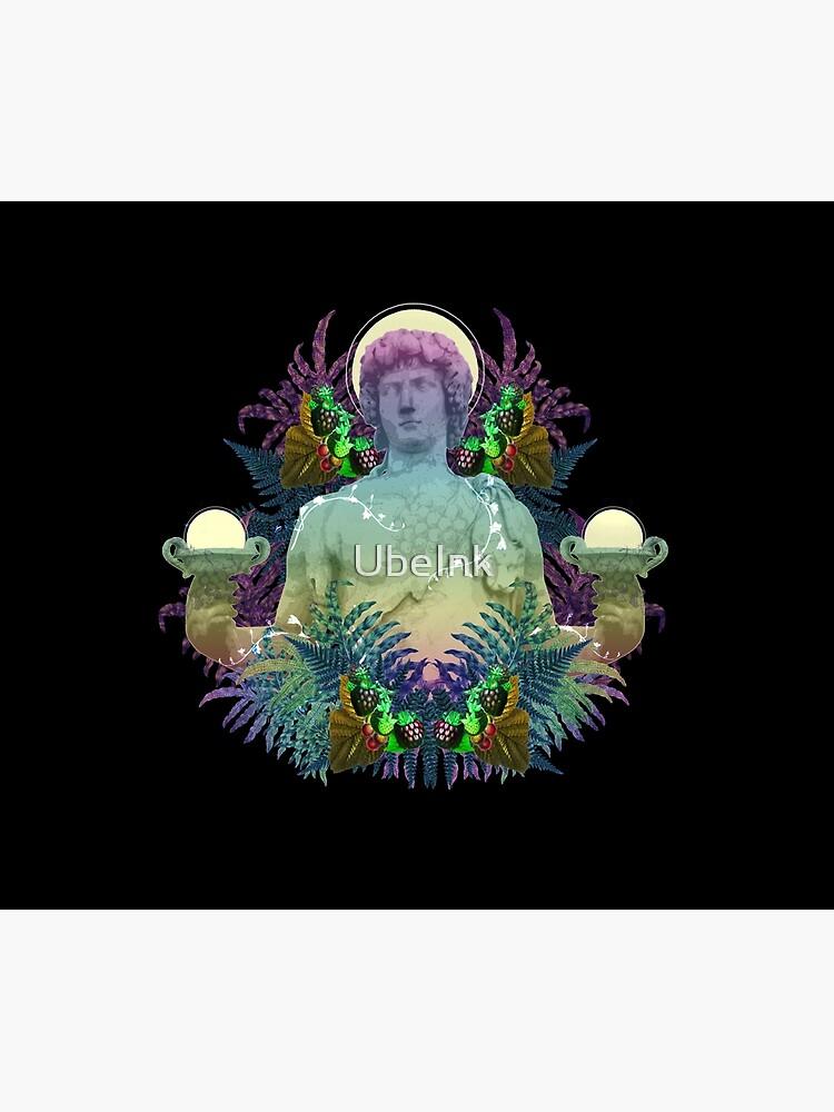 Dionysus de Vaporwave - arte pop del collage del arte de la estatua griega con colores del arco iris de UbeInk