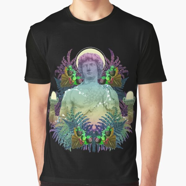 Vaporwave Dionysus - Greek statue art collage pop art with rainbow colors Graphic T-Shirt