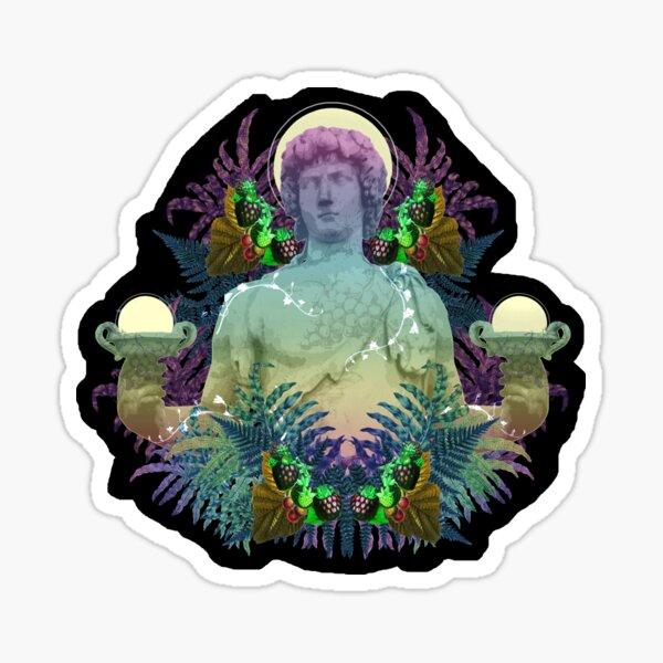Vaporwave Dionysus - Greek statue art collage pop art with rainbow colors Sticker