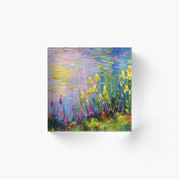 Flowers by the pond Acrylic Block