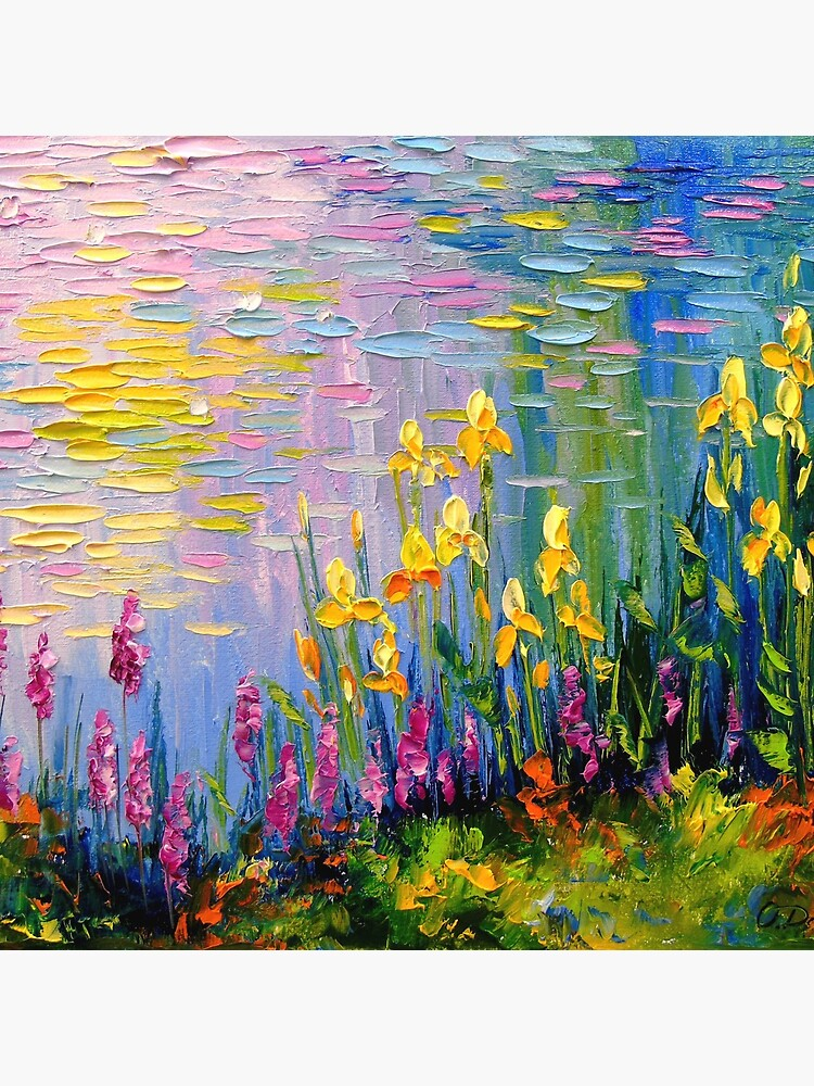 Flowers by the pond by Olyha