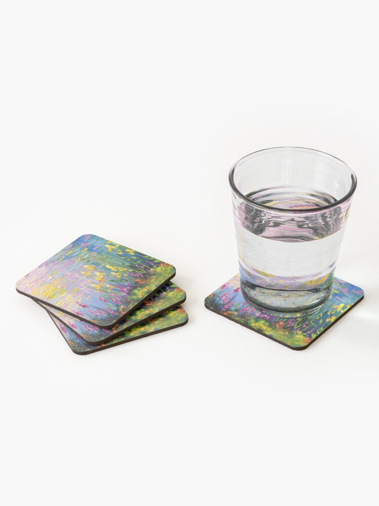 Alternate view of Flowers by the pond Coasters (Set of 4)