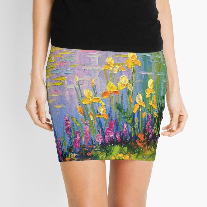 Flowers by the pond Mini Skirt