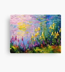 Flowers by the pond Canvas Print
