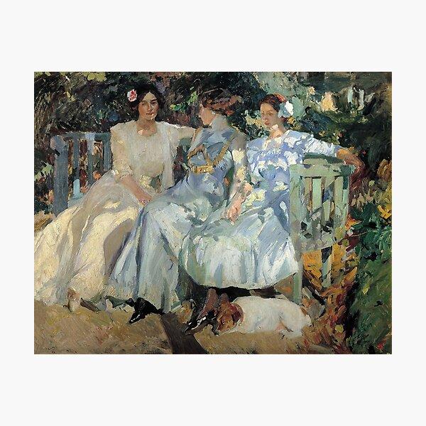 Joaquin Sorolla Mi esposa e hijas en el jardín 1910 Lámina fotográfica