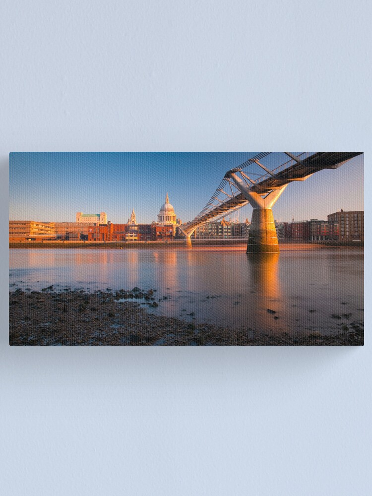 Alternate view of UK, London, St. Paul's Cathedral and Millennium Bridge over River Thames   Alan Copson © 2010 (20046-15) Canvas Print