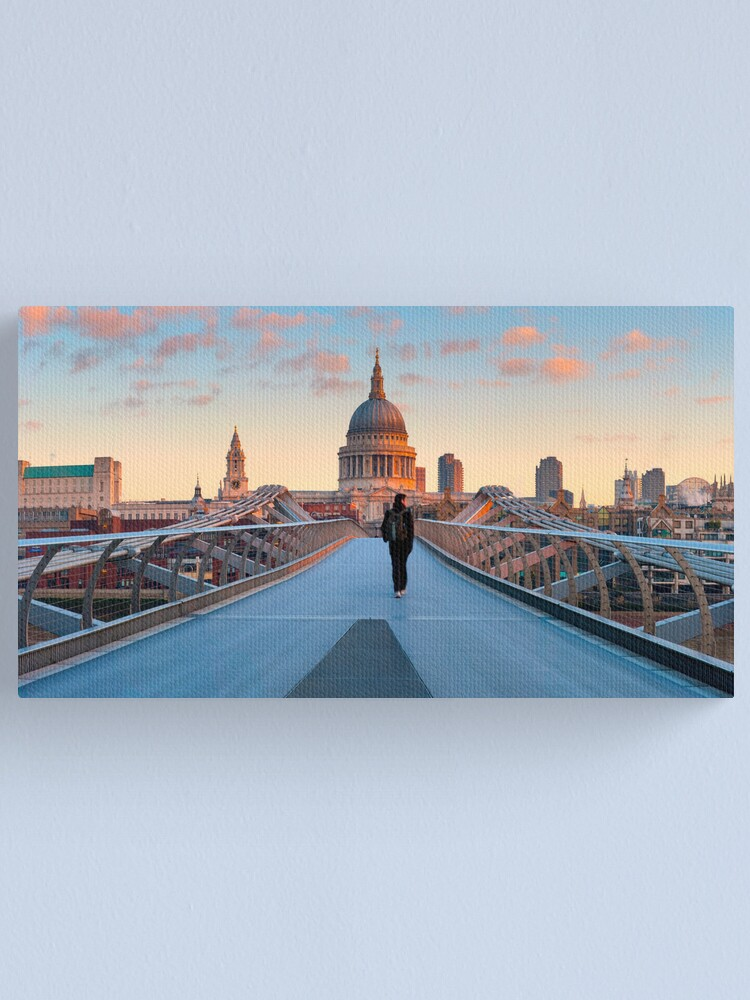 Alternate view of UK, London, St. Paul's Cathedral and Millennium Bridge over River Thames   Alan Copson © 2010 (20038-06) Canvas Print