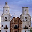 Mission San Xavier del Bac At Sunset by Larry Costales