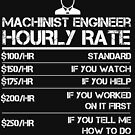 Machinist Engineer Hourly Rate Funny Gift Shirt Labor Rates by orangepieces