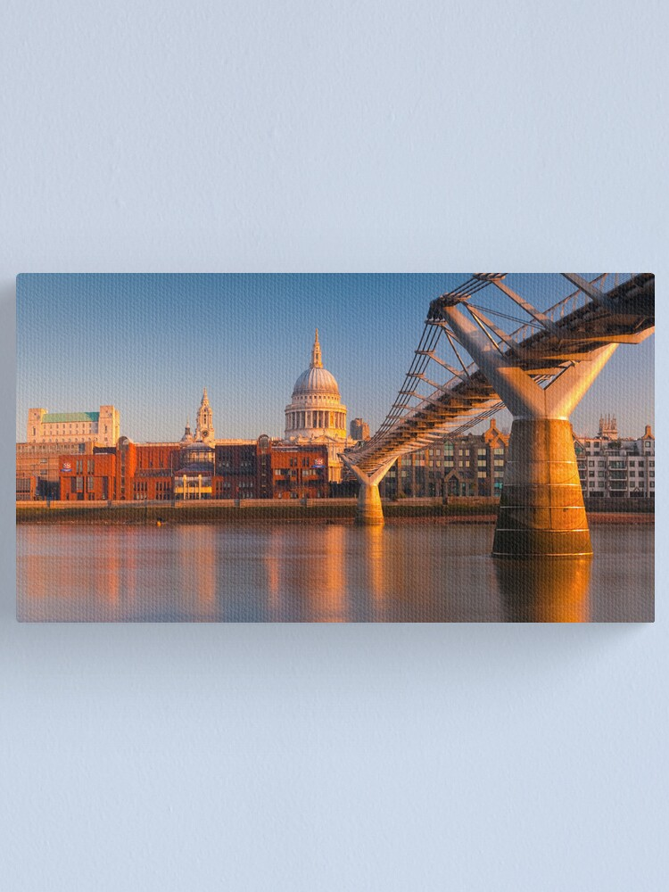 Alternate view of UK, London, St. Paul's Cathedral and Millennium Bridge over River Thames   Alan Copson © 2010  (20046-05) Canvas Print