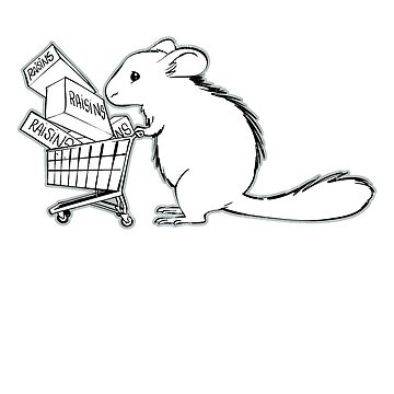 Chinchilla Pushing Shopping Cart Full of Raisins T-Shirt by noirty