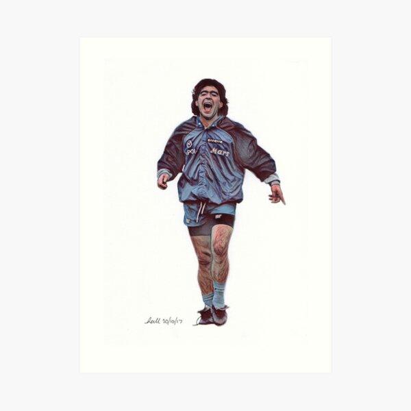 Diega Maradona Traditional Pencil Drawing Art Print