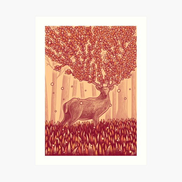 Deer Tree Art Print