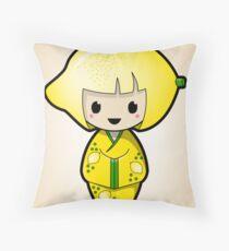 Lemon Kokeshi Doll Throw Pillow