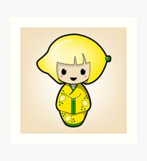 Lemon Kokeshi Doll Art Print