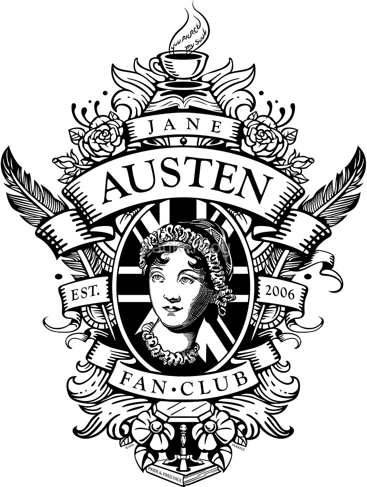 Jane Austen Fan Club Commemorative Crest - Black by baykerboy